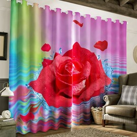 Fresh Red Rose 2 Panels Romantic and Country Style 2 Panels Living Room Curtain
