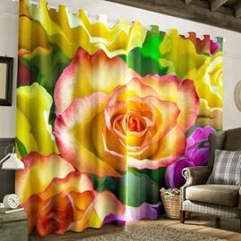 3D Blooming Rose Printed Pastoral Style 2 Panels Bedroom Window Drape