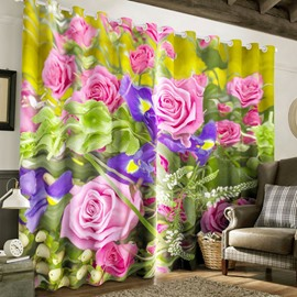 Pink Roses and Purple Orchids Printed Pastoral Style 2 Panels Living Room Curtain