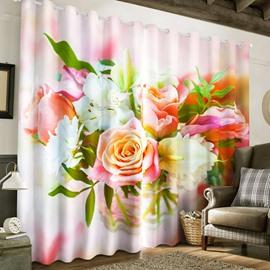 Fresh Roses Printed 2 Panels Custom 3D Curtain for Living Room
