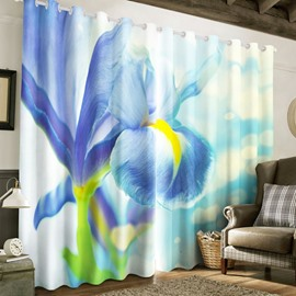 3D Elegant Orchid Printed 2 Panels Thick Polyester 2 Panels Living Room Curtain