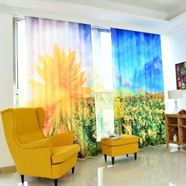 3D Sunflower Pattern Custom Cotton and Linen Yellow Grommet Top Curtain with Sheer