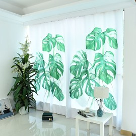 3D Banana Leaves Pattern Custom Cotton and Linen Green Grommet Top Curtain and Sheer for Living Room