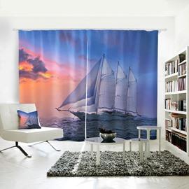 Blue Room Darkening Sailing Sea Pattern 3D Curtain
