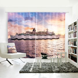 Pink and Blue Sailing Sea Sunshine Pattern 3D Painted Curtain