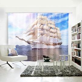 3D Vivid Blue Sky Sea Sailing Symbol of Power Curtain