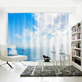 Vivid 3D Blue Sky and Sea White Cloud and Yawls Symbol of Ease Curtain