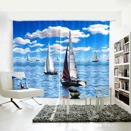 Blue Sky and Sea White Cloud and Yawls Vivid 3D Symbol of Ease Curtain