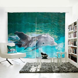3D Animal Painted Dolphin Pattern Patron Saint of Love Curtain