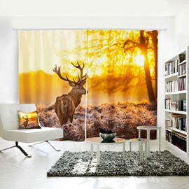 3D Animal Painted Elk Deer in Sunset Pattern Polyester Curtain
