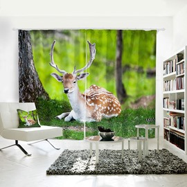 Vivid Sika Deer Pattern 3D Animal Painted Polyester Curtain