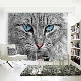3D Animal Painted Cat with Blue Eyes Pattern Polyester 2 Panels Curtain
