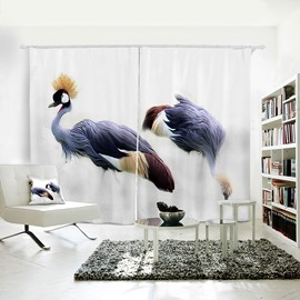 Grey-crowned Crane Pattern 3D Animal Painted Curtain