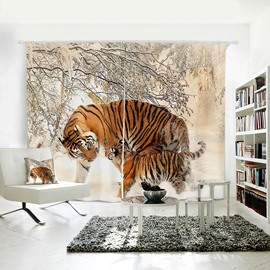 Vivid Tigers Pattern 3D Animal Painted Polyester 2 Panels Curtain