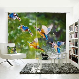 3D Bird Painted Kingfisher Pattern Polyester Curtain