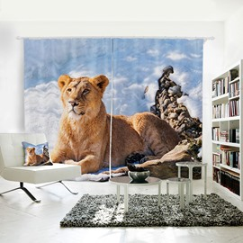 Yellow Lion Pattern 3D Animal Painted Polyester Curtain