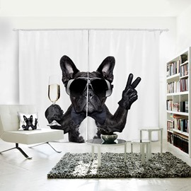 Funny Black Dog V Gesture Pattern 3D Polyester Curtain