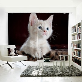 Lovely White Cat Pattern 3D Printed Polyester Curtain