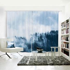 Dark Green Mountain White fog Pattern 3D Polyester Curtain