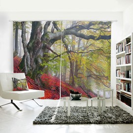 Goldern Red Leaves Bough Pattern 3D Polyester Curtain