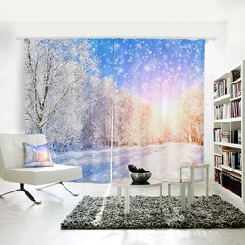 Blue Sky White Snow and Tree 3D Polyester Curtain