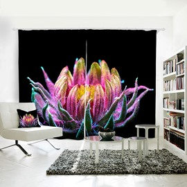 Room Darkening Colorful Floral Pattern 3D Polyester Curtain