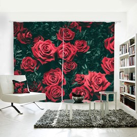 Red Rose Floral Pattern Decorative Polyester 3D Curtain