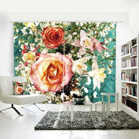 Yellow & Pink Floral Pattern Decorative 3D Curtain