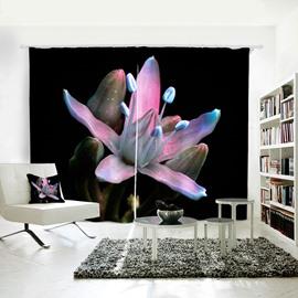 Purple & Blue Floral Pattern Room Darkening 3D Curtain
