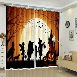 Cartoon Figures Halloween Scene 3D Polyester Curtain for Kids Room/Living Room