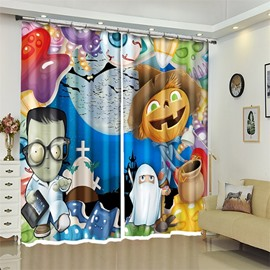 Cute Cartoon Mummy And Pumpkin 3D Polyester Halloween Scene Curtain for Kids Room/Living Room