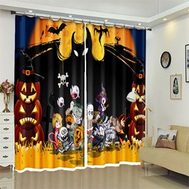 Funny Cartoon Figure And Pumpkin Halloween Scene 3D Polyester Curtain for Kids Room/Living Room