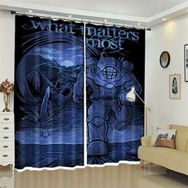 Blue 3D Polyester Custom Spaceman Halloween Scene Curtain for Kids Room/Living Room
