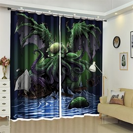 Creative Monster Halloween Scene 3D Polyester Custom Curtain for Kids Room/Living Room