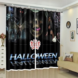 Creative Halloween Scene 3D Polyester Custom Curtain For Living Room