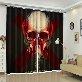 3D Polyester Custom Halloween Scene Creative Skull Pattern Curtain For Living Room