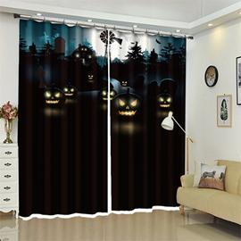 3D Polyester Creative Black Pumpkin Pattern Custom Halloween Scene Curtain For Living Room