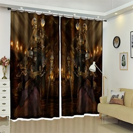 3D Polyester Creative Skull Custom Halloween Scene Curtain For Living Room