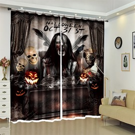 Creative Skull Pattern 3D Polyester Custom Halloween Scene Curtain For Living Room