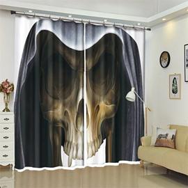 Skull Pattern 3D Polyester Custom Halloween Scene Curtain For Living Room