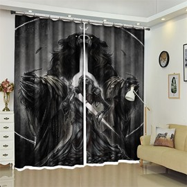 Bear And Skull Pattern 3D Polyester Custom Halloween Scene Curtain For Living Room