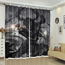 Warrior Pattern 3D Polyester Custom Halloween Scene Curtain For Living Room