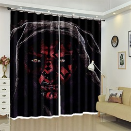 Red Wolf Head Pattern 3D Polyester Custom Halloween Scene Curtain For Living Room