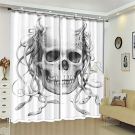 Skull And Snake Pattern 3D Polyester Custom Halloween Scene Curtain For Living Room