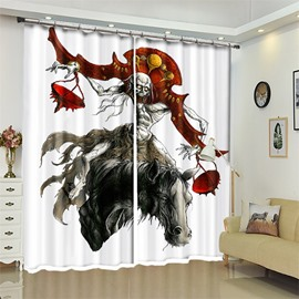 Pirate And Horse Pattern 3D Polyester Custom Halloween Scene Curtain For Living Room