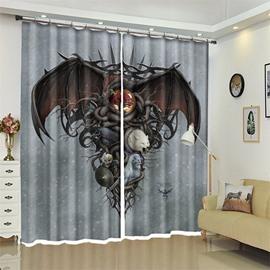 Bat And Skull Pattern 3D Polyester Custom Halloween Scene Curtain For Living Room