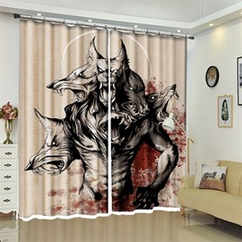 Werewolf Pattern 3D Polyester Custom Halloween Scene Curtain For Living Room