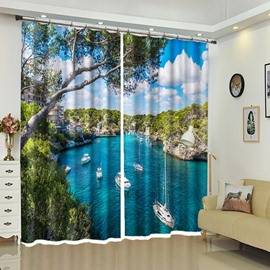 Blue Lake With Floating White Yacht 3D Window Curtain