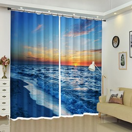 The Calm Wave Under Sunset 3D Artistic Curtain for Living Room