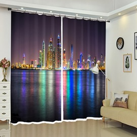 Colorful None Lights Under The Night Modern City Curtain
